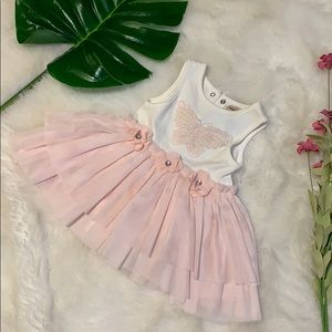 Nanette lapore pink tulle butterfly dress 3-6m